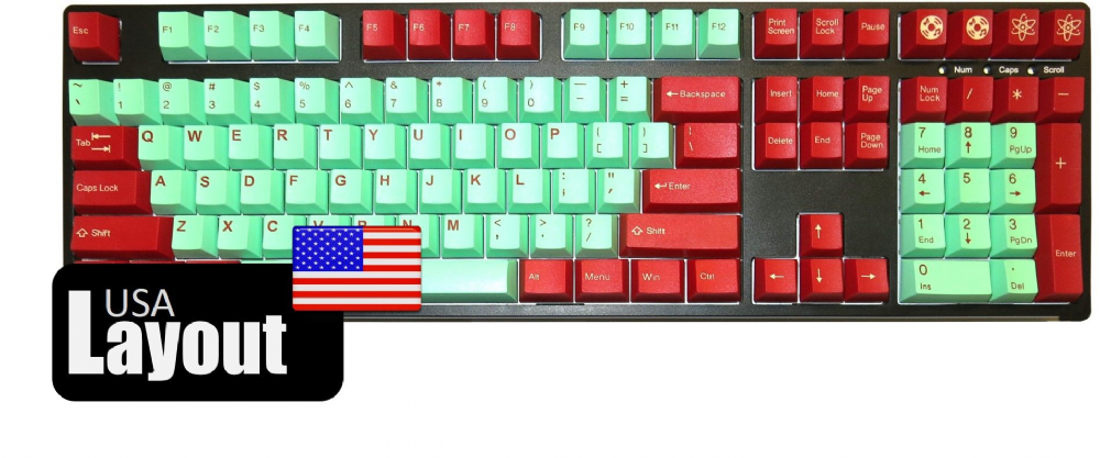 Tai-Hao ABS Double Shot Keycaps Juke Box Cubic Mint Red USA